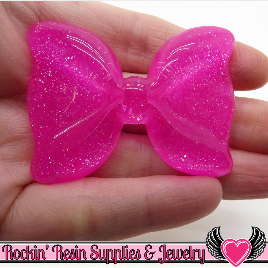 2 pc Glitter Neon Hot Pink GLITTER BOW Cabochons 54x41mm