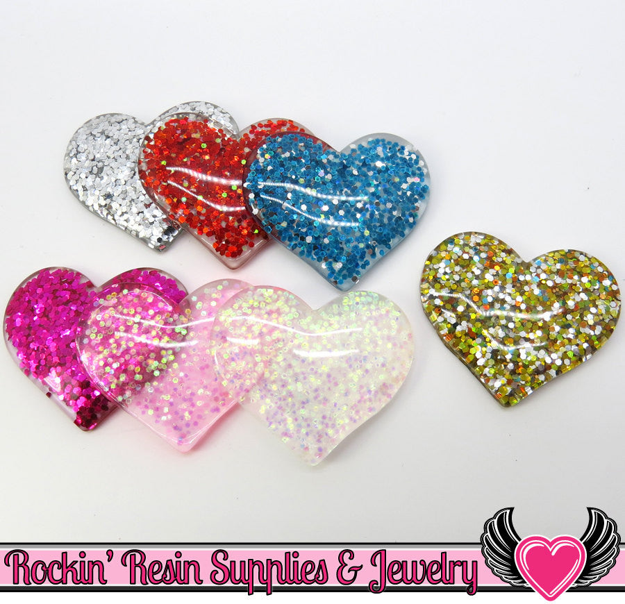 GLITTER HEARTS 7 pc Flatback Decoden Resin Kawaii Cabochons 36x31mm