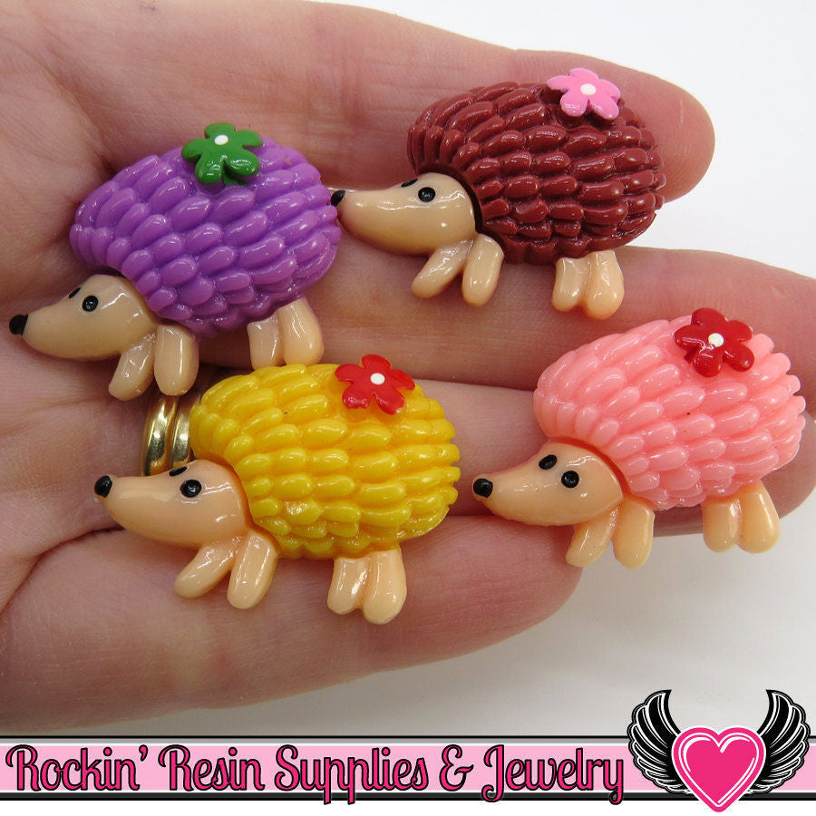 8pc HEDGEHOG Flatback Decoden Resin Kawaii Cabochons 31x23mm