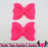 2 pc FAUX RHINESTONE Neon Hot Pink BOW Cabochons 52x40mm