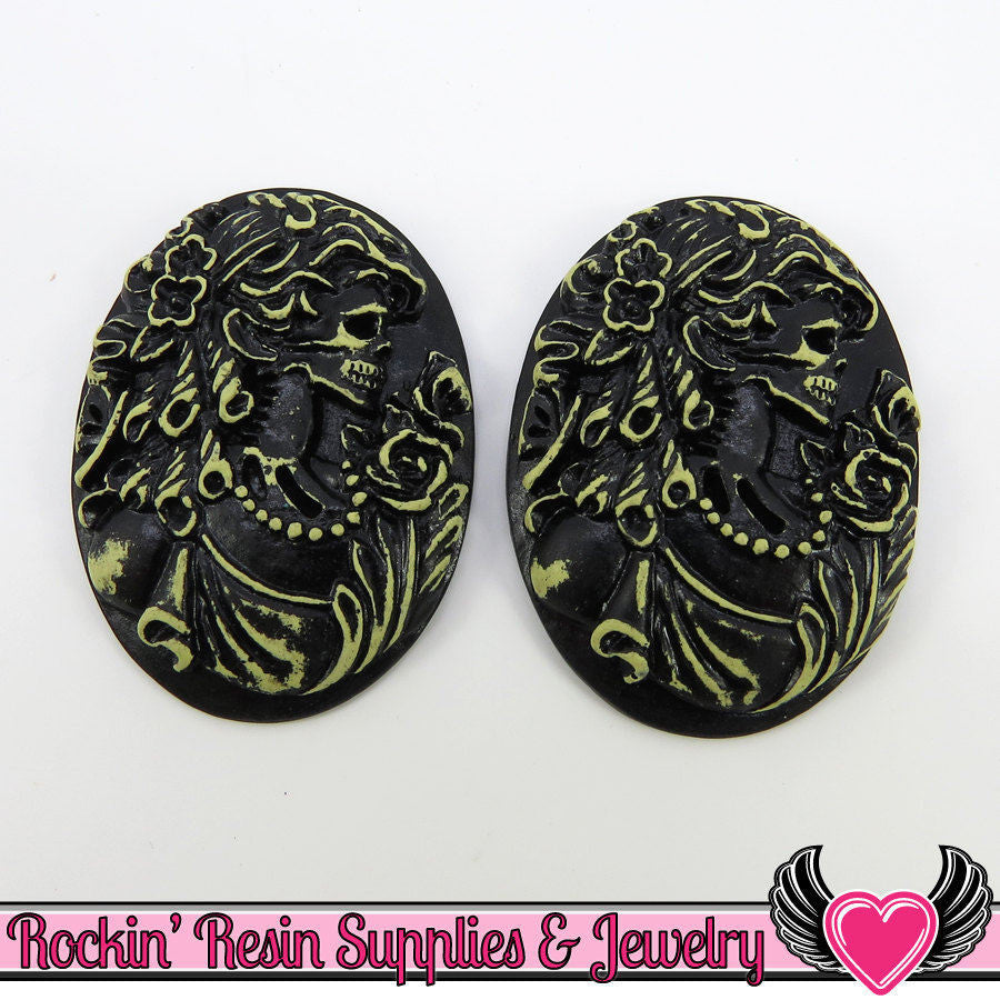 2 pc Antique Style VICTORIAN ZOMBIE with BUTTERFLY Skeleton Black Resin Cameos 30x40mm