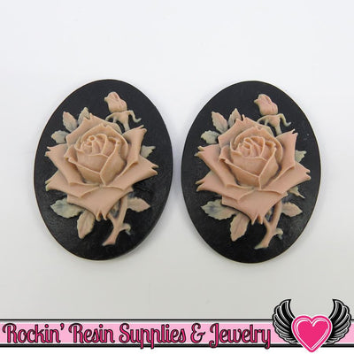 2 pc BEIGE ROSE 30x40mm Black Resin Cameo Cabochons