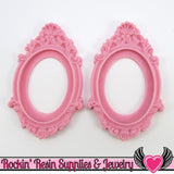2 pc 30x40mm Inset Victorian Resin Pink CAMEO SETTING Bezel