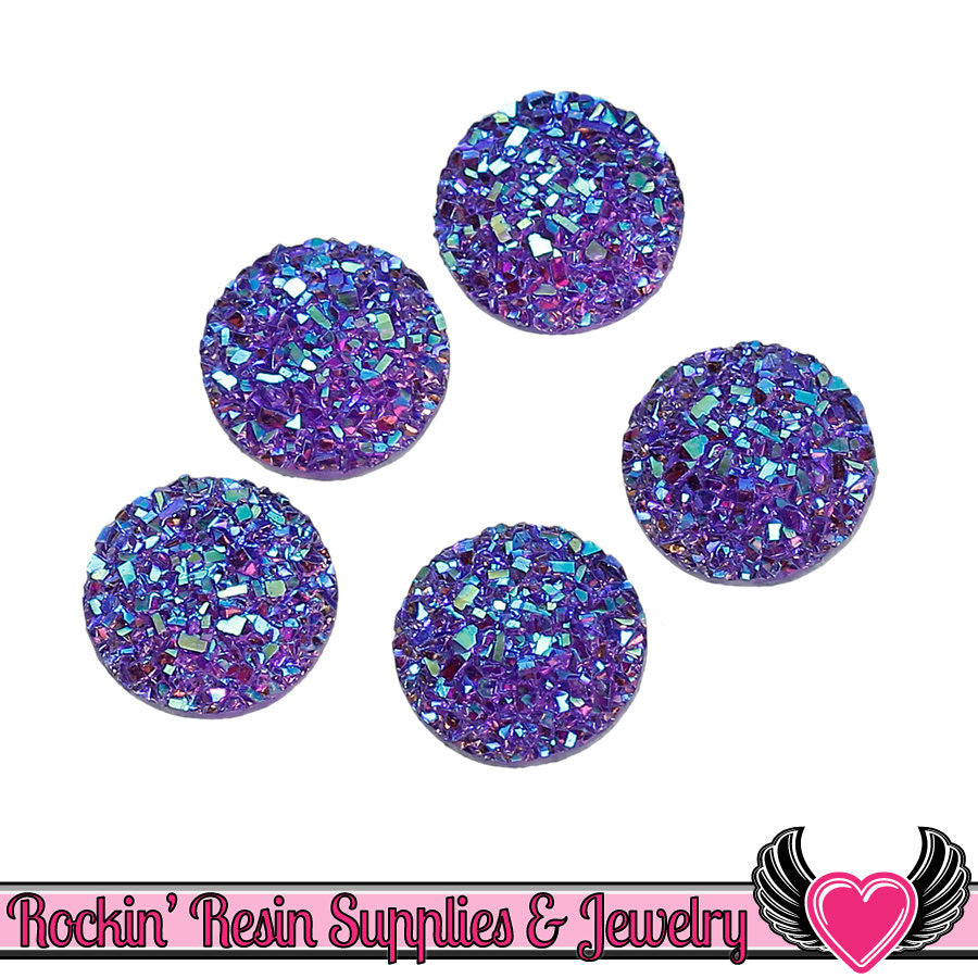 20 pc Purple Faux Druzy Resin Stones 12mm Cabochons