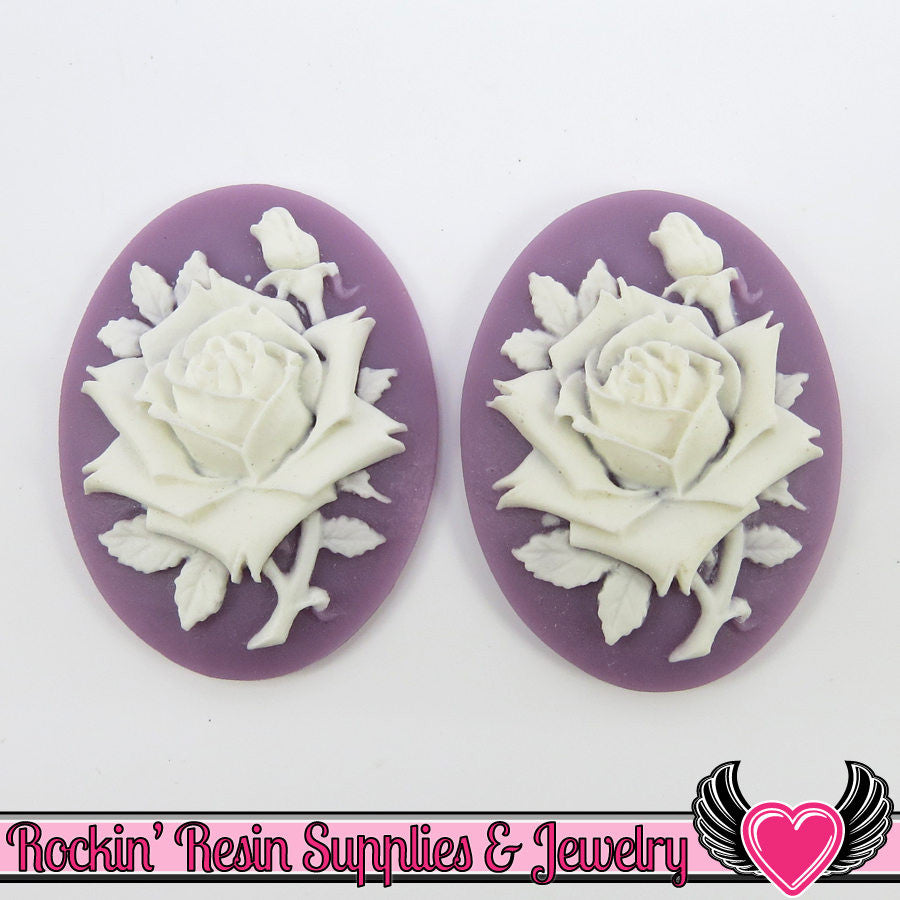 2 pc Purple & White ROSE 30x40mm Resin Cameos Cabochons