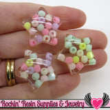 6pc Clear Pastel Bead STARS Flatback Kawaii Decoden Resin Cabochons 25mm