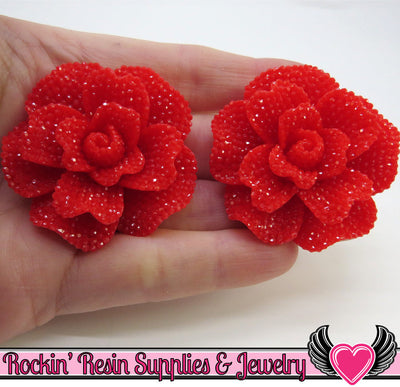 Faux RHINESTONE Rose in True Red 45mm Decoden Flower Cabochons (2 pc)