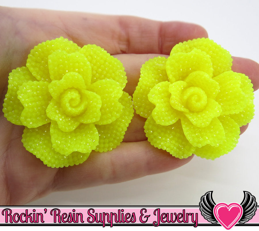 Yellow Faux RHINESTONE Rose Resin Flower Cabochons (2 pc) 45mm