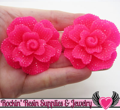 Faux RHINESTONE Rose in Hot Pink 45mm Flower Cabochons (2 pc)