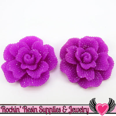 Faux RHINESTONE Rose in PLUM PURPLE 45mm Decoden Flower Cabochons (2 pc)
