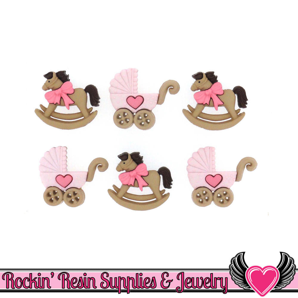 Jesse James Buttons 6 pc Rocking Horse & Buggy Baby Girl Buttons