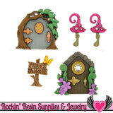 Jesse James Buttons 5 pc Believe In Fairies Mushroom & Fairy Door Buttons