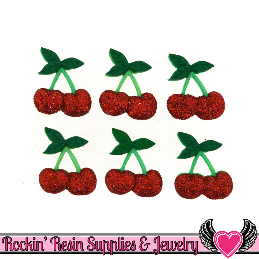 Jesse James Buttons 6 pc Glitter Cherry Buttons
