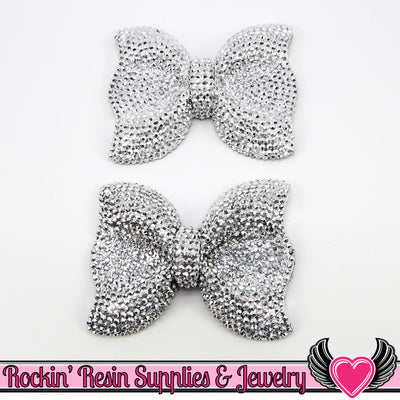 2 pcs FAUX RHINESTONE Silver Black BOWS Resin Cabochons 54x42mm