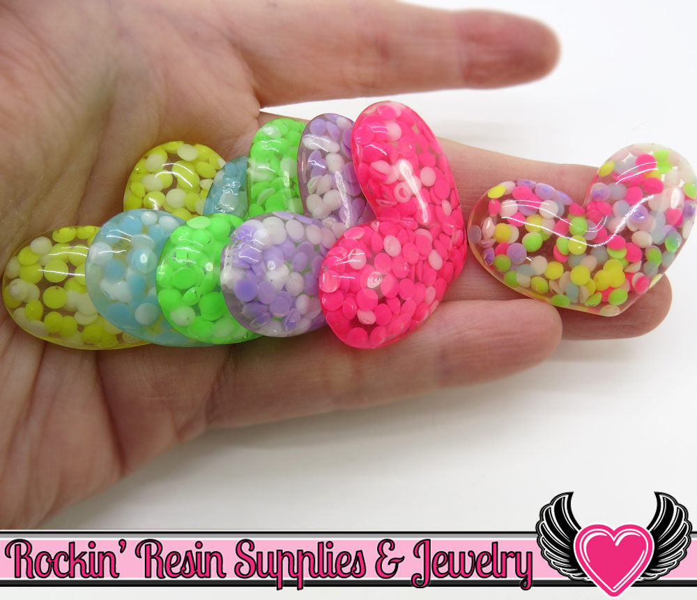 5 pc Confetti Rhinestone HEARTS Resin Decoden Flatback Kawaii Cabochons 40x27mm