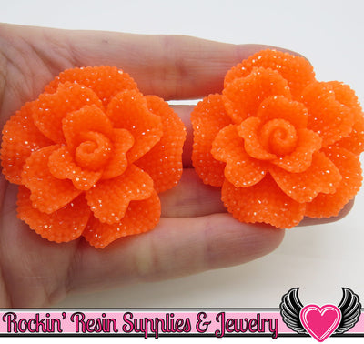 Faux RHINESTONE Light NEON ORANGE 45mm Decoden Flatback Resin Flower Cabochons (2 pc)