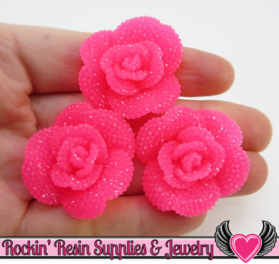 Jelly Pink Faux RHINESTONE Roses Flower Cabochons 34mm (3 pc)