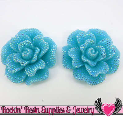 2 pc Faux RHINESTONE Rose Cabochons AB Jelly AQUA 45mm