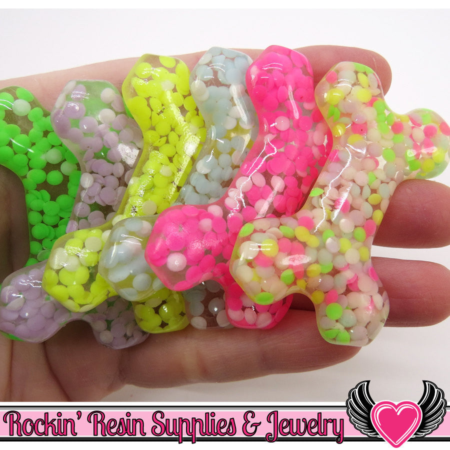 Confetti Rhinestone DOG BONE Resin Flatback Decoden Cabochons (5 pc) 54x33mm