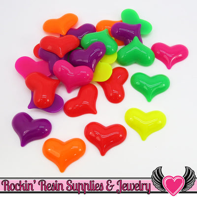 6 pc NEON HEARTS Flatback Decoden Resin Cabochons 31x24mm
