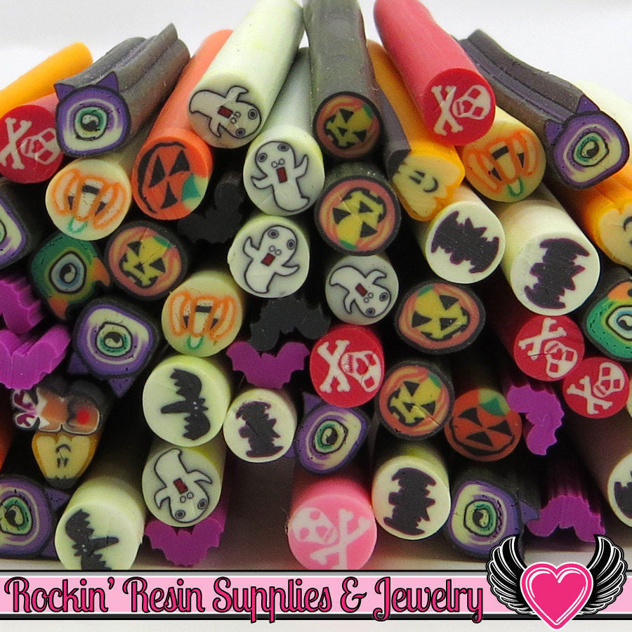 10pc Mix HALLOWEEN Polymer Clay Cane for Nail Art