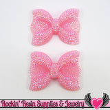 2 pc FAUX RHINESTONE AB Light Baby Pink BoWS