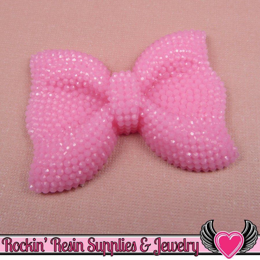 2 pc FAUX RHINESTONE Light Baby Pink BOWS Cabochons 52x40mm