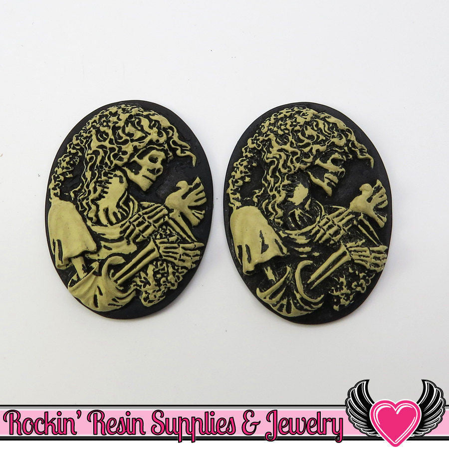2 pc VICTORIAN ZOMBIE with DOVE Antique Style Skeleton Black and Ivory Resin Cameos 30x40mm