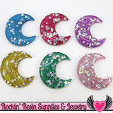 Sequin Star Glitter Moon Resin Cabochons (6 pc) 40mm