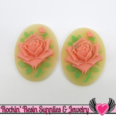 2 pc Two Tone Melon Pink Rose Cameos 30x40mm