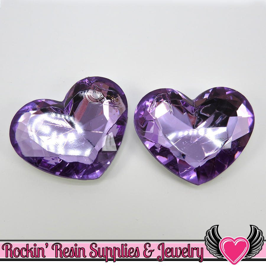 42mm HUGE HEART GEMS Purple Acrylic Faceted Decoden Rhinestones