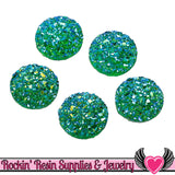 20 pc Green Faux Druzy Resin Stones 12mm Cabochons