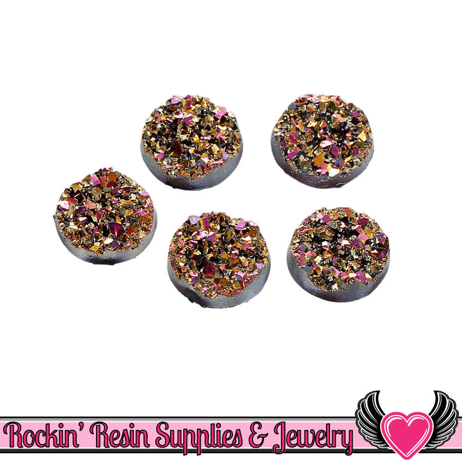Gold Peacock Faux Drusy Glitter Faux Resin Stones 12mm 20 pc