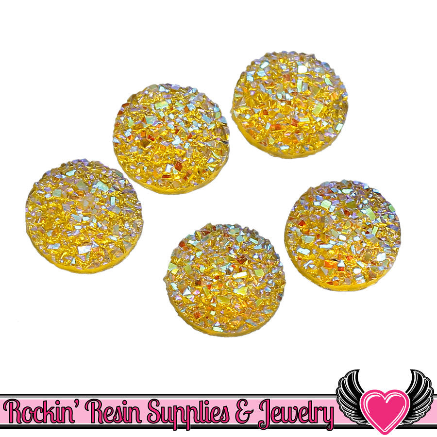 20 pc Yellow Sparkly Glitter Faux Druzy Resin Stones 12mm