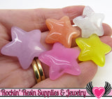 STARS Resin Flatback Decoden Cabochons 25x25mm (6 pieces)