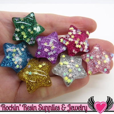 Sequin Star GLITTER STARS 6 pc Decoden Resin Kawaii Cabochons 25mm