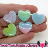 8pc Sparkly Pastel HEARTS Flatback Decoden Resin Kawaii Cabochons 19x17mm