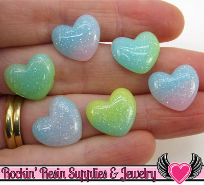 10pc Pastel Small Puffy HEARTS Flatback Decoden Cabochons, 15x13mm