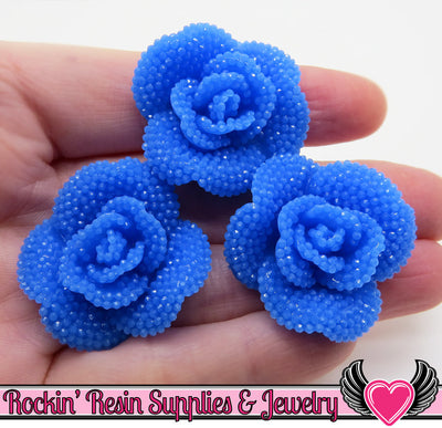 Blue Faux RHINESTONE Rose Flower Cabochons 34mm (3 pc)