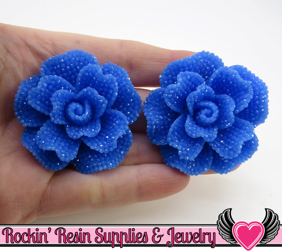 Blue Faux RHINESTONE Rose Resin Flower Cabochons (2 pc) 45mm