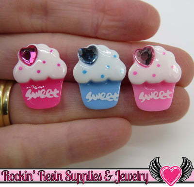 6 pc Sweet CUPCAKES Decoden Kawaii Cabochon 21x16mm