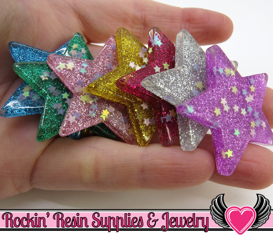 Sequin GLITTER STAR Cabochons (6 pieces) 39mm