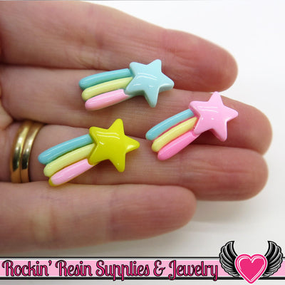 Pastel SHOOTING STAR Cabochons (6 pieces) 23x13mm