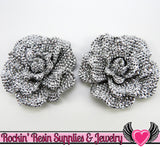 2 pc Faux RHINESTONE Black Silver Metallic Flower Cabochons