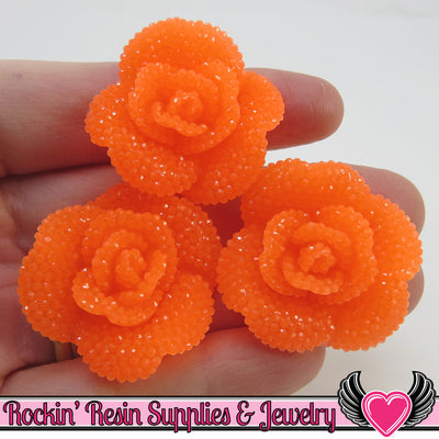 3pc Neon Orange Faux RHINESTONE Roses Resin Flower Cabochons 34mm