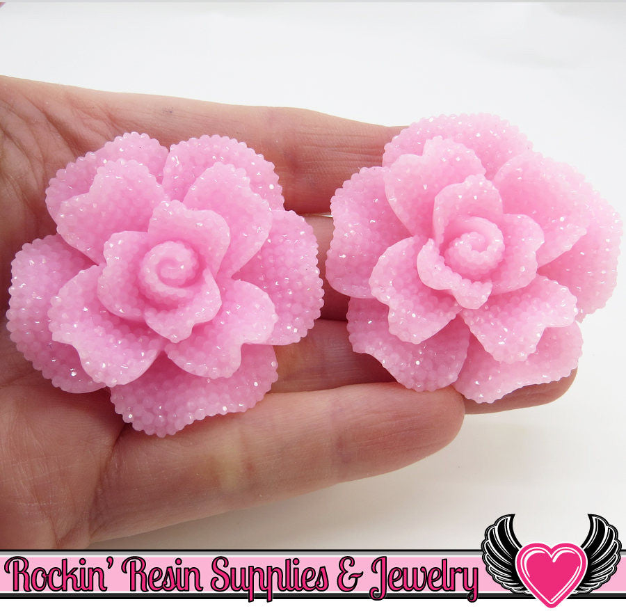 Light Pink Faux RHINESTONE Rose 45mm Resin Flower Cabochons (2 pc)