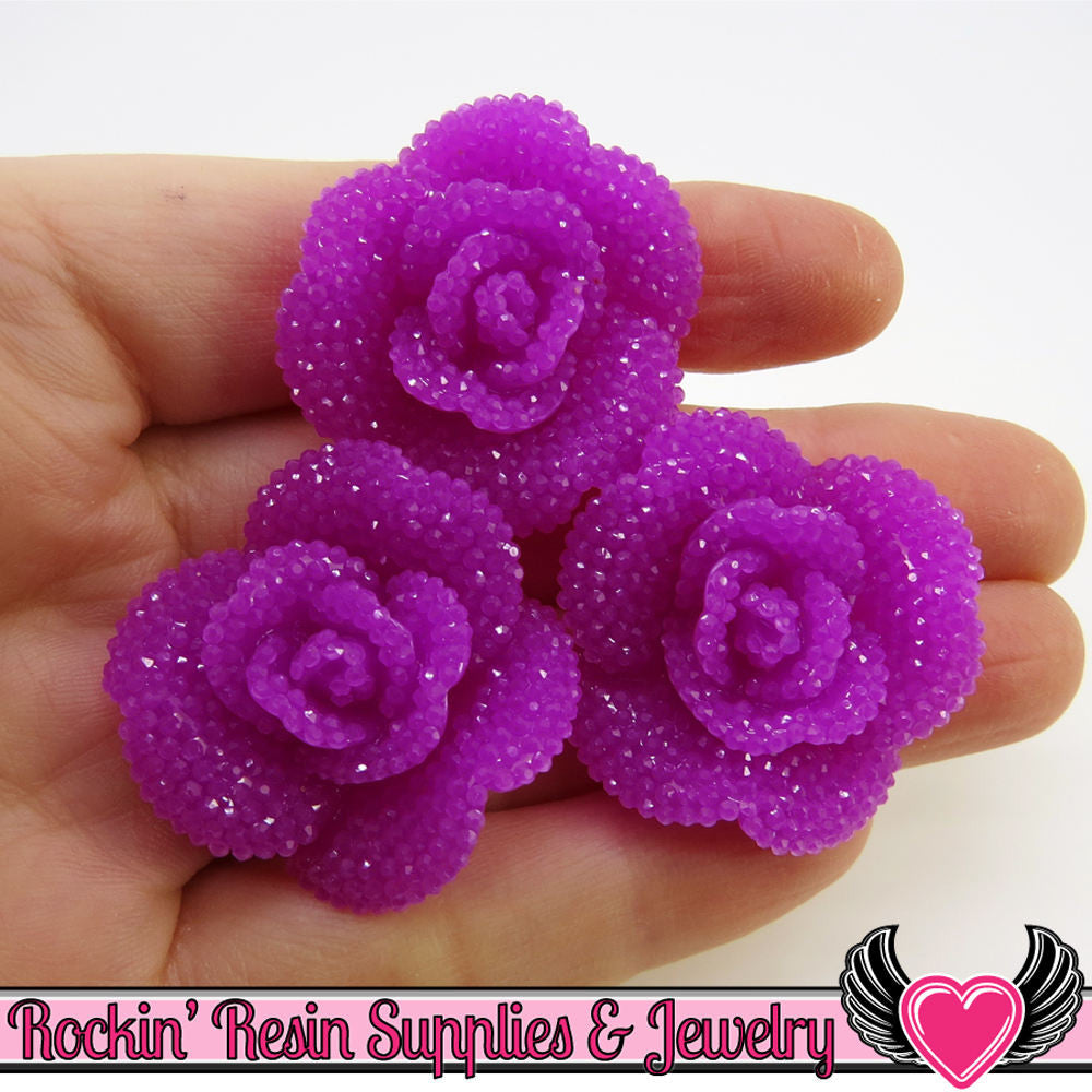Plum Purple Faux RHINESTONE Rose Flower Cabochons (3 pc)