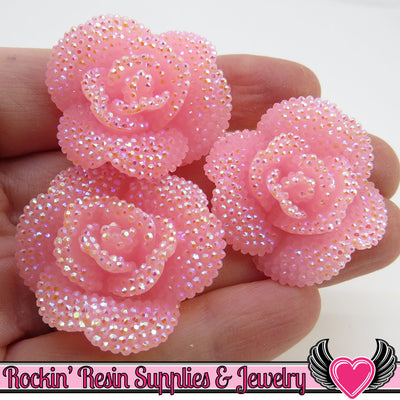 3 pcs Faux RHINESTONE AB BaBY PINK Flower Rose Cabochons