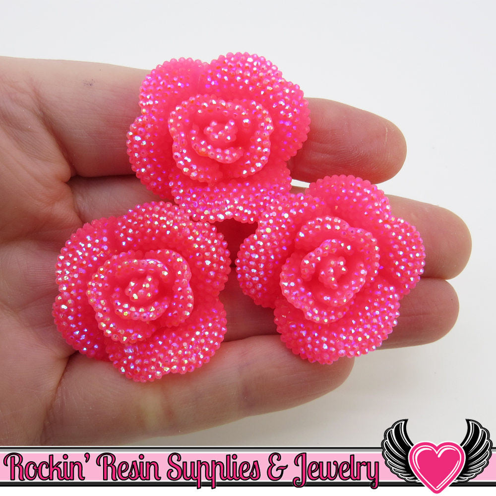3 pcs Faux RHINESTONE AB Neon Hot PINK Rose Flower Cabochons