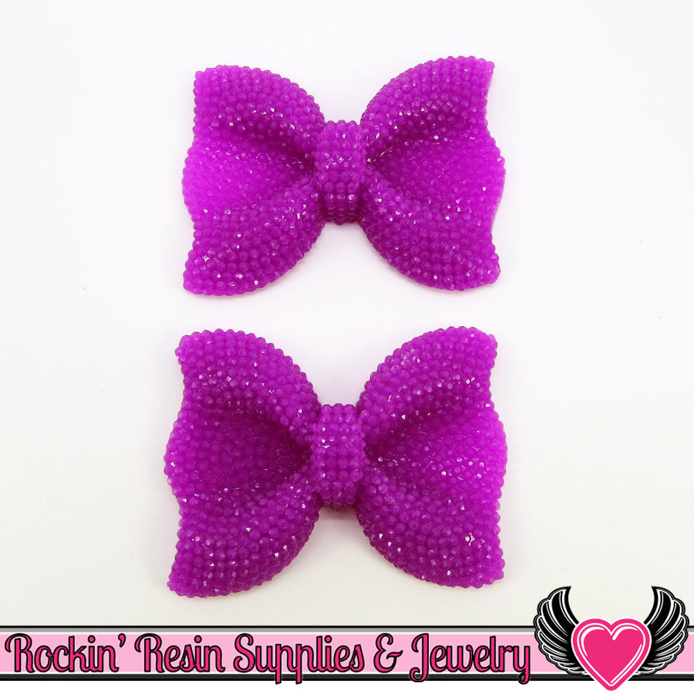 2 pc Plum Purple FAUX RHINESTONE Bow Cabochons